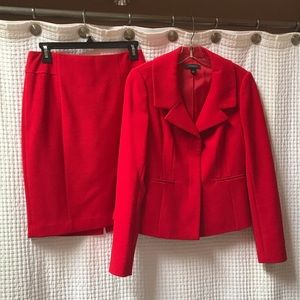 Red skirt suit with blazer